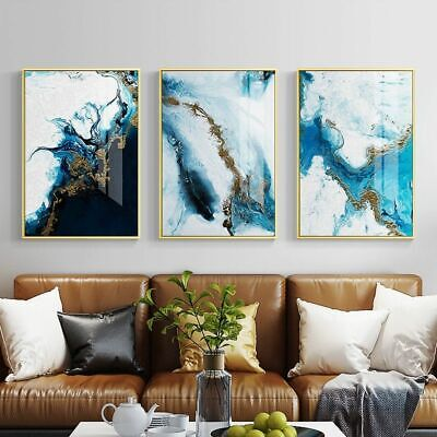 Nordic Abstract Color Splash Blue Golden Canvas Painting Poster Wall Art Picture