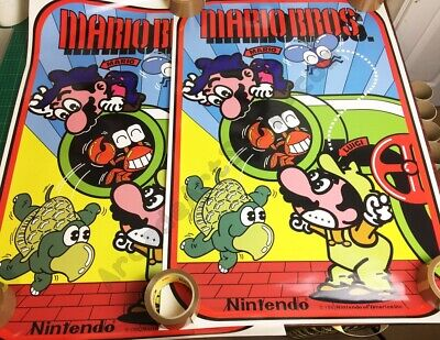 Mario Bros Arcade Side Art Decal 2 Piece set Laminated High Quality Nintendo