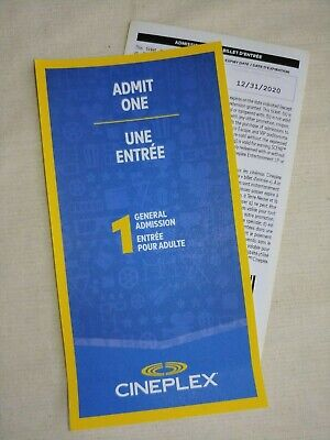 2 Cineplex Admit One General Admission Movie Tickets