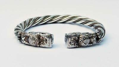 CHINESE DRAGONS ANTIQUE SILVER BANGLE c1900