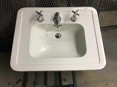 Vintage Sink Trenton Potteries Tepeco ceramic with Crane fixtures