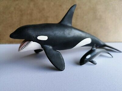Schleich Killer Whale Hand Painted Model Figure Toy With non Schleich Baby Calf
