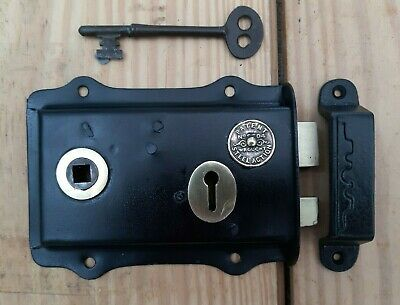 Reclaimed Restored Brass And Steel Rim Lock With Working Key And Cast Iron Keep