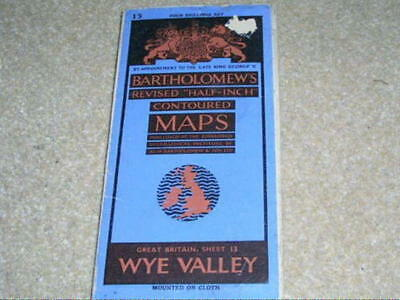 """Bartholomews Revised """"Half Inch"""" contoured map of the Wye Valley sheet 13 cloth"""