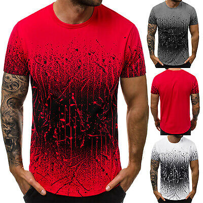 Men's T-shirt Tops Gradient Color Blouse Printed Short Sleeve Round Neck Tees