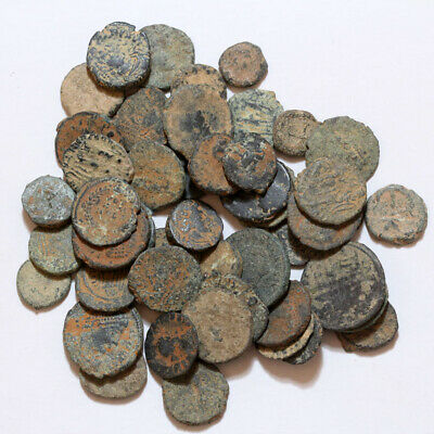Top Lot Of 50 Late Roman Bronze Coins Partial Cleans