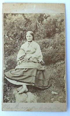 Antique Photograph,  Cabinet Card, Victorian Peasant Or Gypsy Women, Barefoot