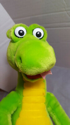 """The Adventures Of Dudley The Dragon Plush Stuffed Animal Green Yellow 10"""" Tall"""