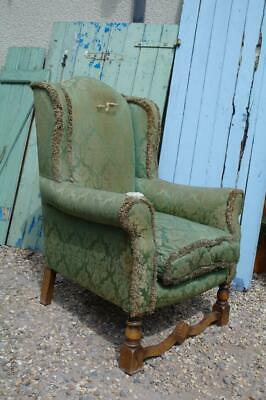 Antique Wingback Armchair Fireside Early 20thC Aged Rustic Chic Or Re-Upholstery