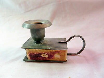 An Antique Silver Plated Chamberstick With Match Holder