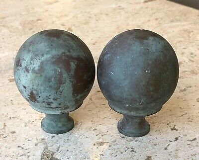 Pair Large Round Spherical Brass Copper Metal Lamp Finials ~ Great Patina & Age