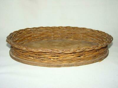 Antique Victorian Shabby Primitive Small Woven Oval WICKER DRESSER TRAY, Basket