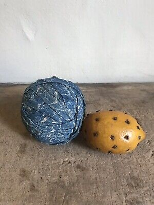 BIG BEST Early Antique Blue Calico Rag Ball Textile AAFA #2