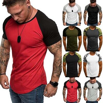 Mens Sports Blouse T Shirt Color Block Tee Crew Neck Muscle Training Casual Tops