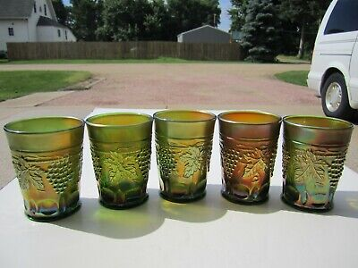 5 Old Antique Northwood Grape & Cable Pattern GREEN Carnival Glass Tumblers