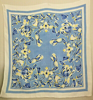 Vintage Linen Printed Tablecloth with Dark & Baby Blue & Yellow Tulips