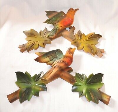 Lot of 2 Vintage Wooden Leaves Birds Cuckoo Clock Parts Top Topper Trim AS IS