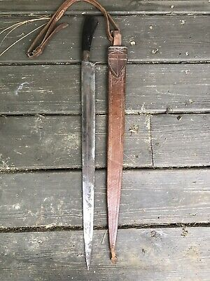 """Antique Philippines ? Sword Filipino Machete Knife With Leather Scabbard 26"""""""
