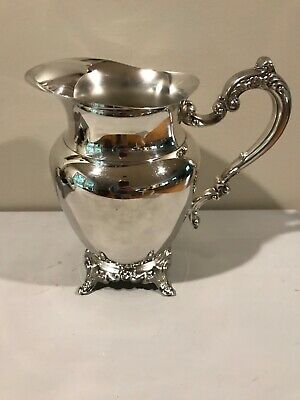 Vintage ONEIDA Silver Plate Footed Water Pitcher Jug Ice Catcher