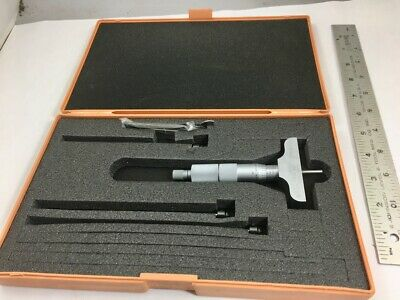 """MITUTOYO 129-127 0-4"""" DEPTH MICROMETER, 4 Rods, 2-1/2"""" Base, In Case, NO RESERVE"""