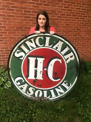 """Vintage 1930s Sinclair Gasoline 48"""" Double Sided Porcelain Sign with Ring"""