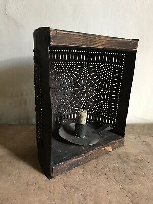 Early Antique Punched Tin Make Do Half Round Candle Lantern Lighting AAFA