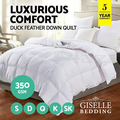 Giselle Bedding Duck Down Feather Quilt 350GSM Duvet Blanket Cotton Cover Summer