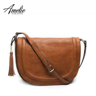 AMELIE GALANTI Large Saddle Bag Crossbody Bags for Women Brown Flap Purses  with