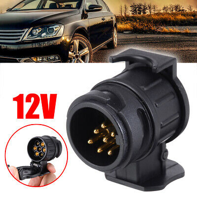 Car Trailer Truck 13 to 7 Pin Plug Adapter Converter Towbar Towing Socket Black