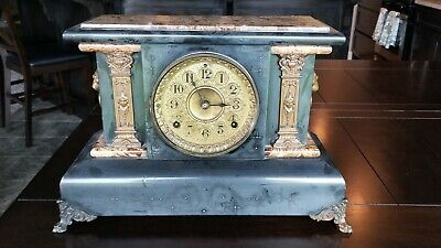 Adamantine 2-Column Mantle Shelf Clock 1896 Seth Thomas Chime Key Pendulum WORKS