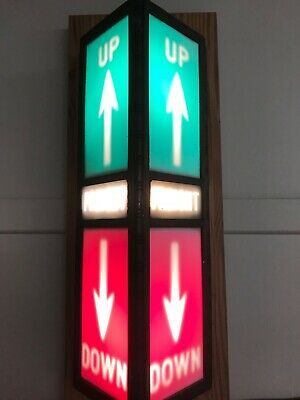 Antique Elevator Floor Indicator Lantern - Red and Green Up/Down Arrows
