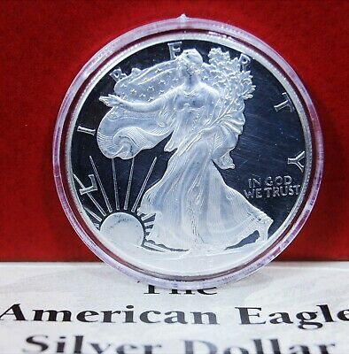 1996-P Silver American Eagle Dollar Proof US $1 Coin 1 oz Gift Box Capsule