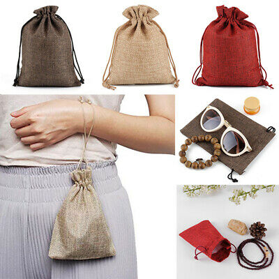 Small Burlap Jute Sack Bag Wedding Party Favor Pack Favour Gift Drawstring Pouch