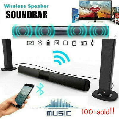 Wireless Bluetooth TV Soundbar 2 Speakers Sound Bar Home Theater Subwoofer RCA