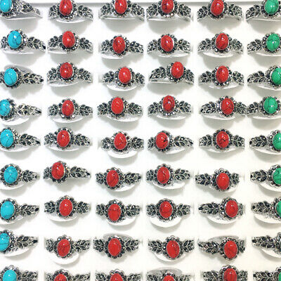 100ps Ancient Silver Round Rhinestone Red Natural Turquoise Gemstone Rings Style