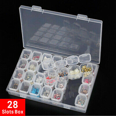 AU 28 Slots Protable Pill Box Embroidery Accessories Case Geometric Holder Kit