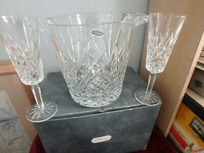 """J.g. Durand French  Crystal Cut Glass """"Villemont"""" Boxed 3 Piece Champagne Set"""