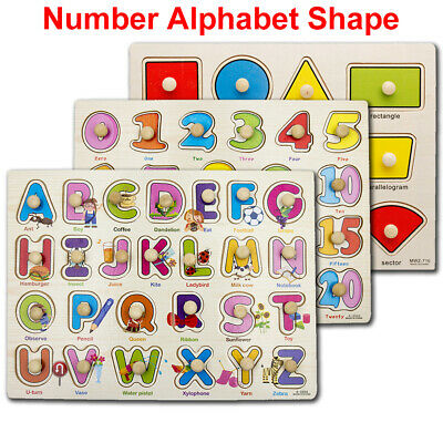 Baby Wooden ABC Letters Alphabet Number Puzzles Animals  JIGSAW EDUCATIONAL TOY