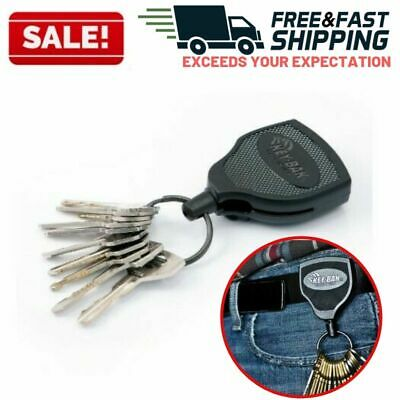 Retractable Key Chain Heavy Duty Badge Holder Locking Steel Belt Clip Black 48""