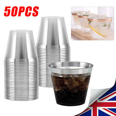 50x Disposable Plastic Wine Glass Party Wedding Juice Champagne Cocktail Cup NEW