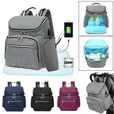 Large Waterproof Baby Nappy Backpack Mummy Diaper Bag Travel Rucksack USB Port