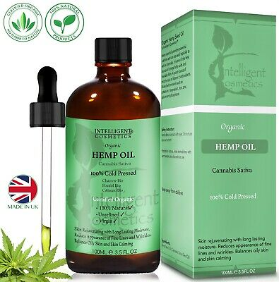 Certified Organic Hemp Seed Oil 100% Pure Virgin Cold-Pressed & Natural 100ml