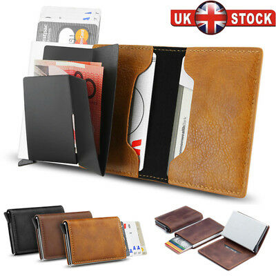Auto Credit Card Holder RFID Blocking Pop-up Wallet Leather Metal Money Clip