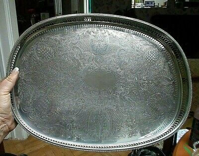 """Large Vintage  42cm """"Cavalier"""" Silver Plate Galleried Tray Footed"""