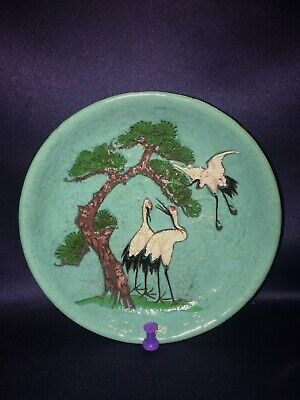 Antique Chinese Export Ceramic Plate With Hand Painted Cranes + Trees