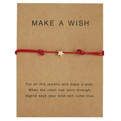 Women Star Wish Bracelet Red Rope Bangle Friendship Couple Card Jewelry Gifts