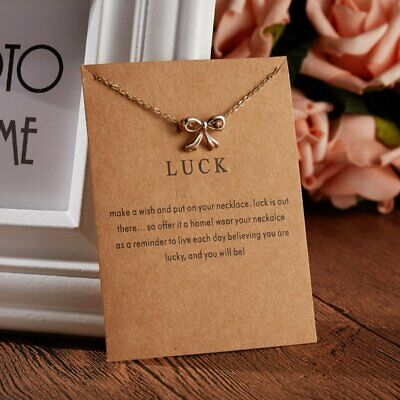 Women LUCK BOW Necklace Pendant Gold Clavicle Chains Choker Card Jewelry Gifts