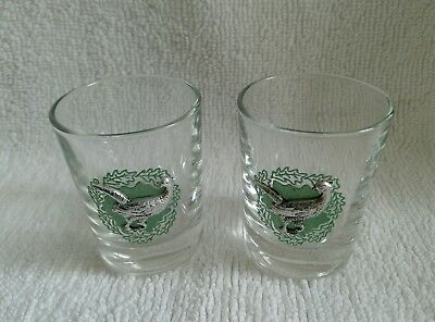 Pair Of Small Dram Tot Glasses With Silver Colour Metal Pheasant Game Birds