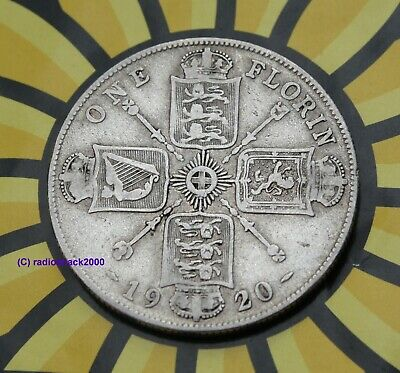 1920 George V FLORIN Two 2 Shillings Coin. 50% SILVER. Birthday or Anniversary