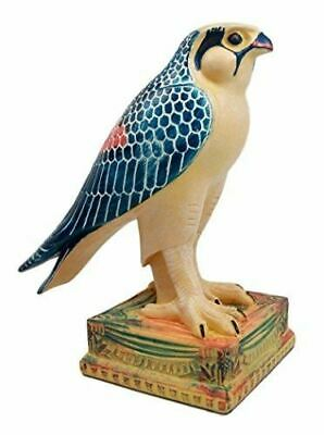 "Ebros Resin Egyptian God Horus Falcon On Pedestal Bird Form Of Heru Statue 6.5""H"